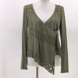 TINY olive green lace detail wrap top silk linen